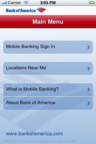 Bank of America - Mobile Page